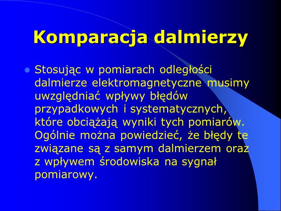 Komparacja dalmierzy Stosując w pomiarach odległości dalmierze elektromagnetyczne musimy uwzględniać wpływy błędów przypadkowych i systematycznych, kt