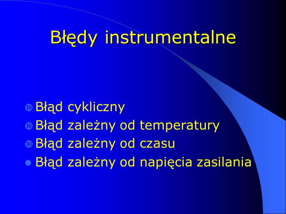 Błędy instrumentalne  Błąd cykliczny  Błąd zależny od temperatury  Błąd zależny od czasu Błąd zależny od napięcia zasilania