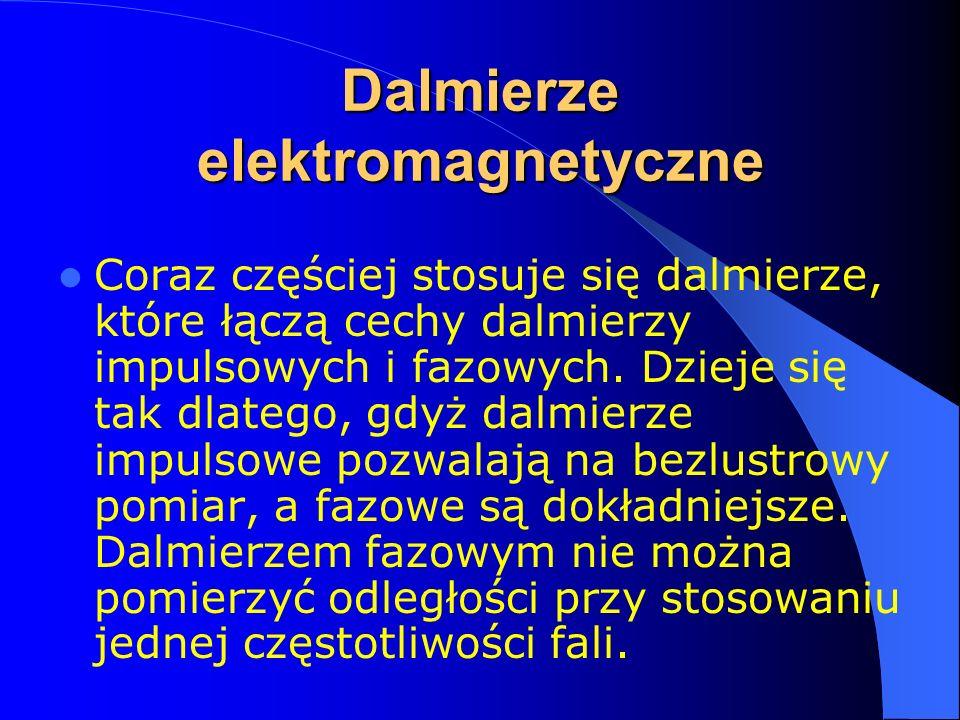 Dalmierze elektromagnetyczne Zasada działania dalmierzy: Pomiar odległości D sprowadza się do pomiaru czasu, w ciągu którego sygnał pomiarowy emitowany z punktu A przebywa drogę 2D równą 2AB Można, zatem napisać: