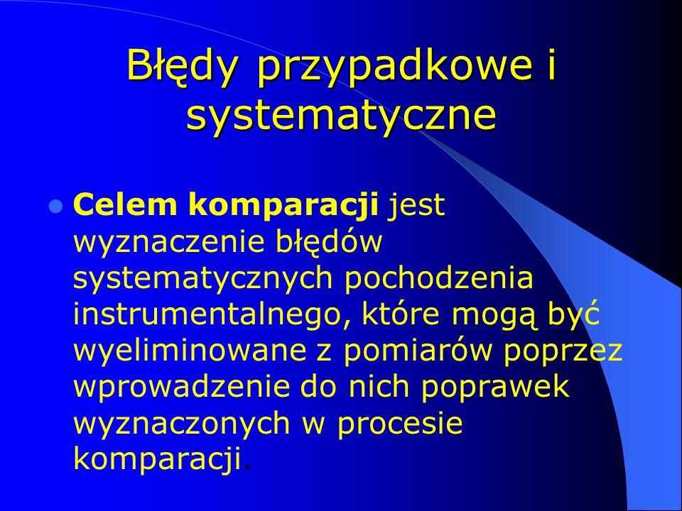 Błędy przypadkowe i systematyczne Celem komparacji jest wyznaczenie błędów systematycznych pochodzenia instrumentalnego, które mogą być wyeliminowane