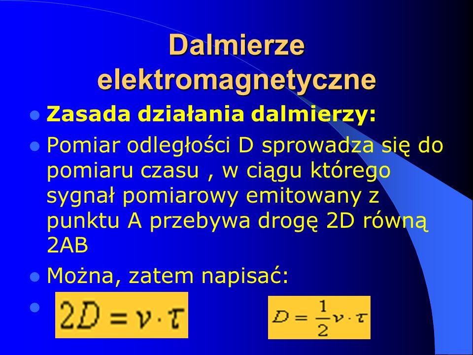 Dalmierze elektromagnetyczne Zasada działania dalmierzy: Pomiar odległości D sprowadza się do pomiaru czasu, w ciągu którego sygnał pomiarowy emitowan