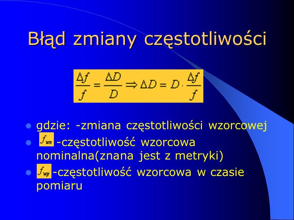 Błąd zmiany częstotliwości gdzie: -zmiana częstotliwości wzorcowej -częstotliwość wzorcowa nominalna(znana jest z metryki) -częstotliwość wzorcowa w czasie pomiaru