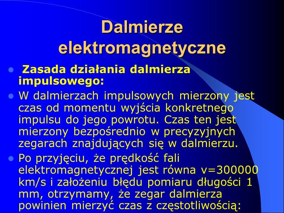 Zasada działania dalmierza impulsowego: W dalmierzach impulsowych mierzony jest czas od momentu wyjścia konkretnego impulsu do jego powrotu. Czas ten
