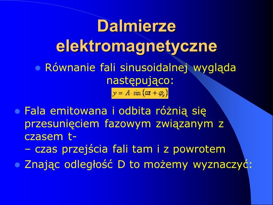 Dalmierze elektromagnetyczne Równanie fali sinusoidalnej wygląda następująco: Fala emitowana i odbita różnią się przesunięciem fazowym związanym z czasem t- – czas przejścia fali tam i z powrotem Znając odległość D to możemy wyznaczyć: