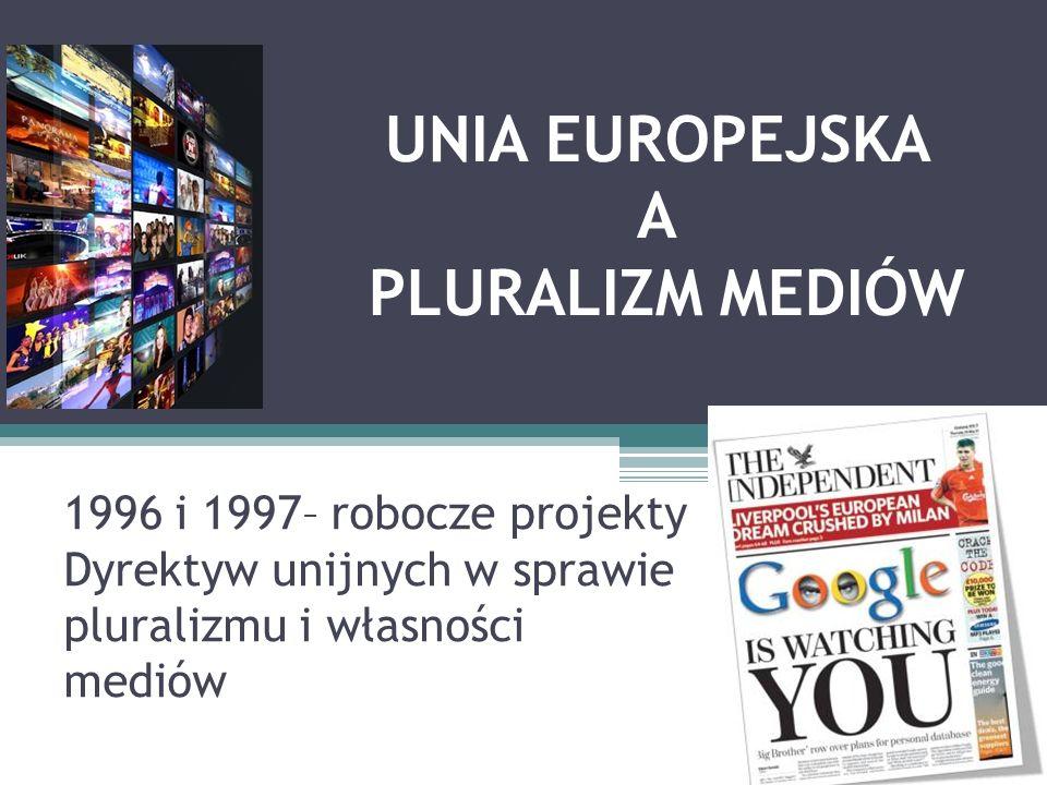 UNIA EUROPEJSKA A PLURALIZM MEDIÓW 1996 i 1997– robocze projekty Dyrektyw unijnych w sprawie pluralizmu i własności mediów