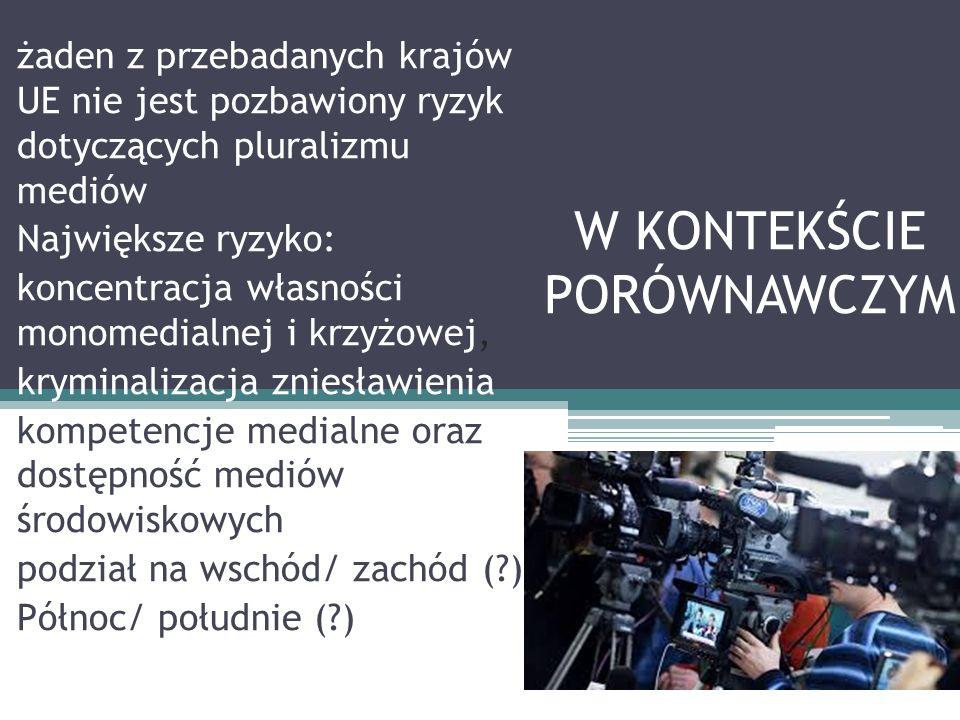 W KONTEKŚCIE PORÓWNAWCZYM żaden z przebadanych krajów UE nie jest pozbawiony ryzyk dotyczących pluralizmu mediów Największe ryzyko: koncentracja własności monomedialnej i krzyżowej, kryminalizacja zniesławienia kompetencje medialne oraz dostępność mediów środowiskowych podział na wschód/ zachód ( ) Północ/ południe ( )