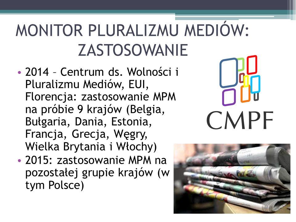 MONITOR PLURALIZMU MEDIÓW: ZASTOSOWANIE 2014 – Centrum ds.