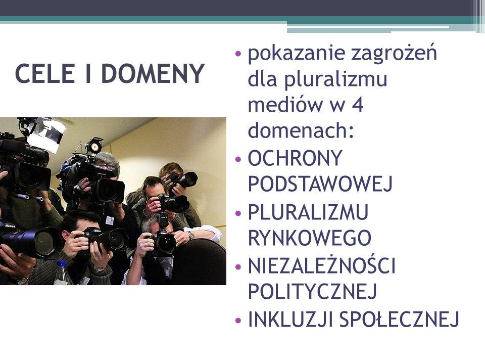 CELE I DOMENY pokazanie zagrożeń dla pluralizmu mediów w 4 domenach: OCHRONY PODSTAWOWEJ PLURALIZMU RYNKOWEGO NIEZALEŻNOŚCI POLITYCZNEJ INKLUZJI SPOŁECZNEJ