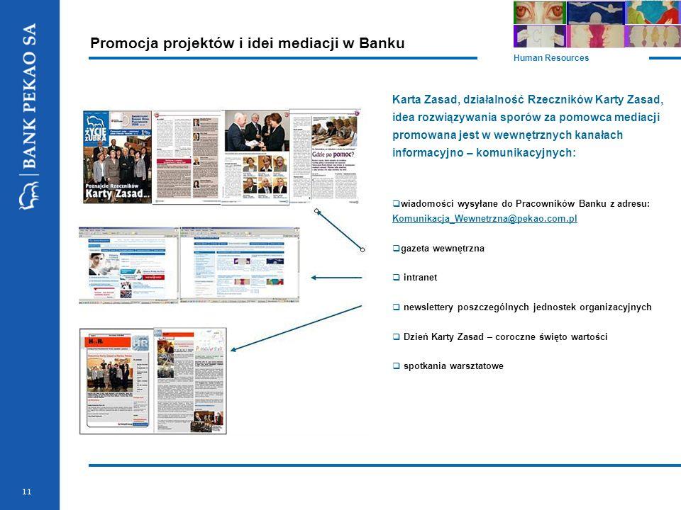 11 Promocja projektów i idei mediacji w Banku Human Resources Karta Zasad, działalność Rzeczników Karty Zasad, idea rozwiązywania sporów za pomowca me