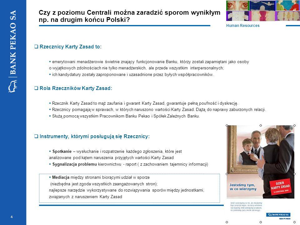 4 Czy z poziomu Centrali można zaradzić sporom wynikłym np. na drugim końcu Polski? Human Resources  Rzecznicy Karty Zasad to:  emerytowani menadżer