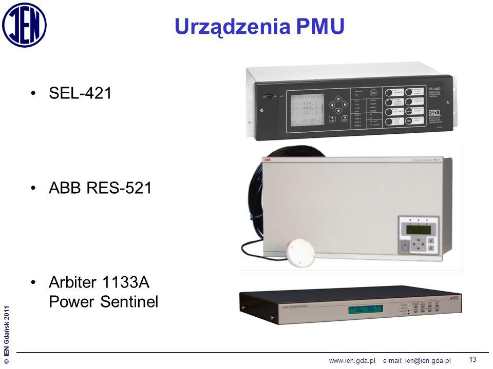 © IEN Gdańsk 2011 www.ien.gda.pl e-mail: ien@ien.gda.pl 13 Urządzenia PMU SEL-421 ABB RES-521 Arbiter 1133A Power Sentinel