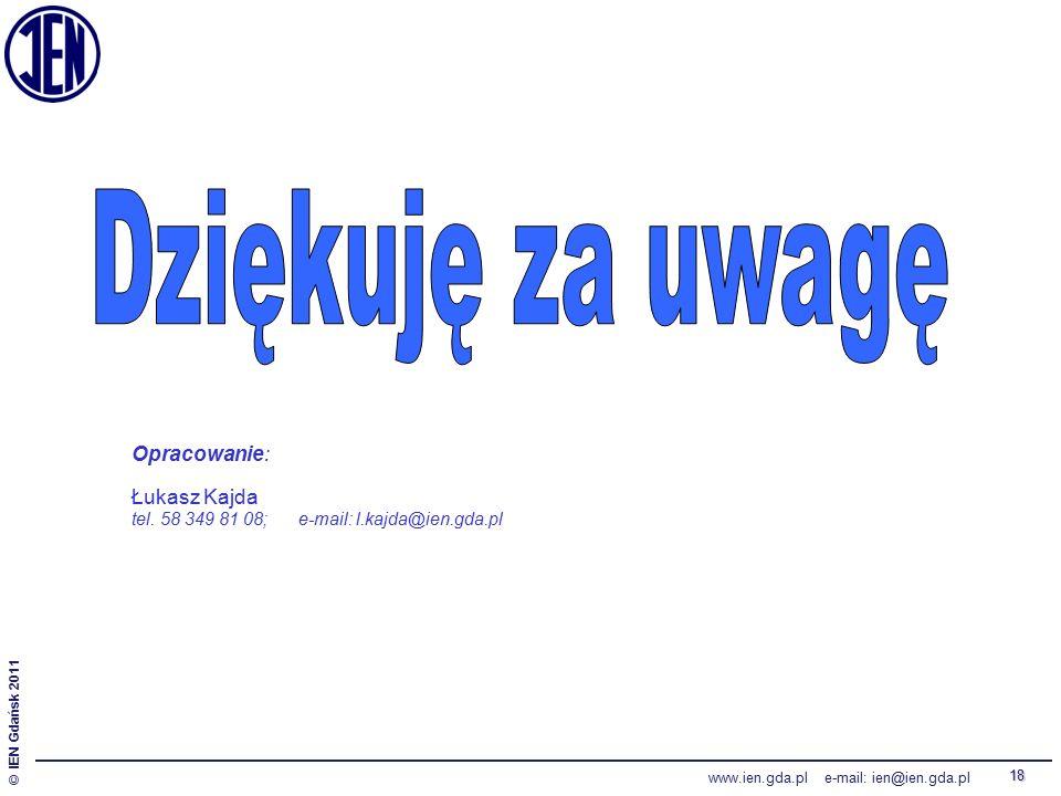 © IEN Gdańsk 2011 www.ien.gda.pl e-mail: ien@ien.gda.pl 18 Opracowanie: Łukasz Kajda tel.