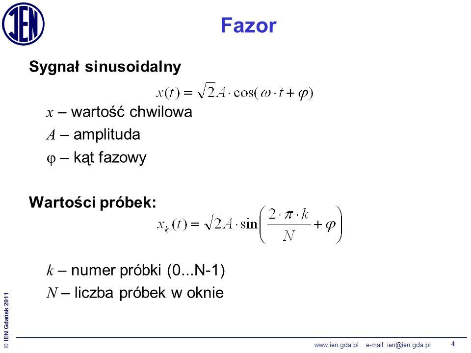 © IEN Gdańsk 2011 www.ien.gda.pl e-mail: ien@ien.gda.pl 4 Fazor Sygnał sinusoidalny x – wartość chwilowa A – amplituda  – kąt fazowy Wartości próbek: k – numer próbki (0...N-1) N – liczba próbek w oknie