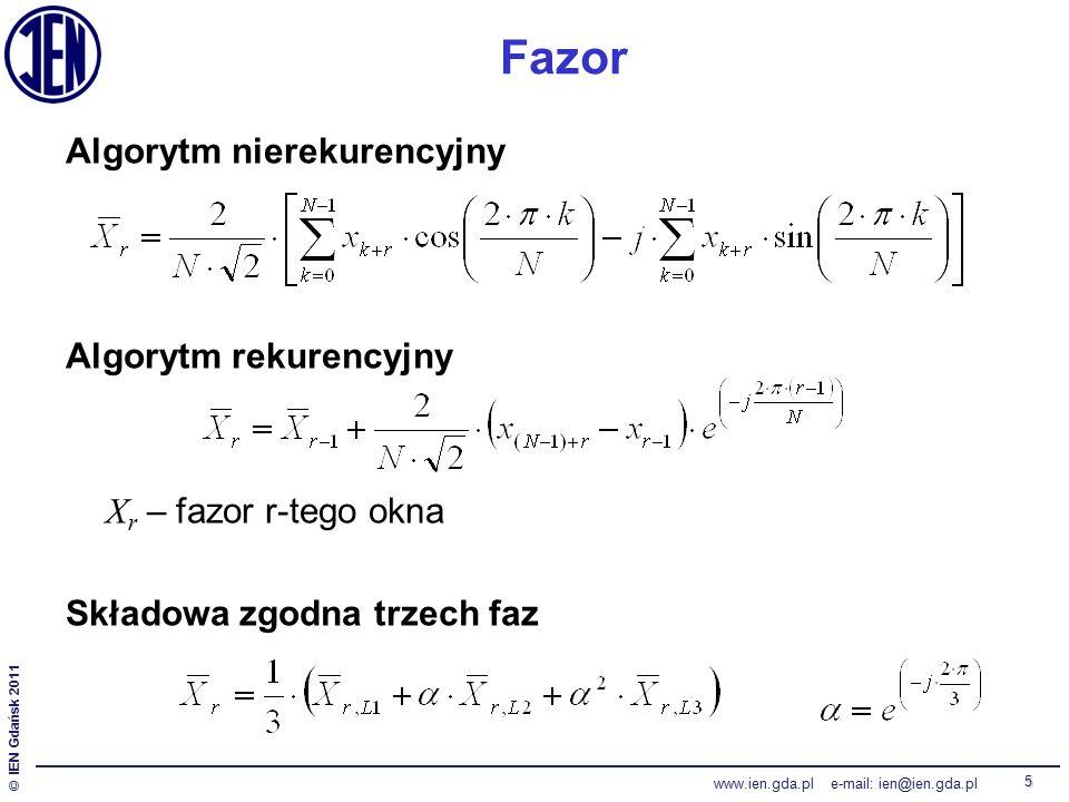 © IEN Gdańsk 2011 www.ien.gda.pl e-mail: ien@ien.gda.pl 5 Fazor Algorytm nierekurencyjny Algorytm rekurencyjny X r – fazor r-tego okna Składowa zgodna trzech faz