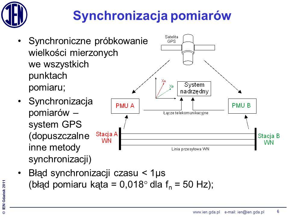 © IEN Gdańsk 2011 www.ien.gda.pl e-mail: ien@ien.gda.pl 6 Synchroniczne próbkowanie wielkości mierzonych we wszystkich punktach pomiaru; Synchronizacja pomiarów – system GPS (dopuszczalne inne metody synchronizacji) Błąd synchronizacji czasu < 1μs (błąd pomiaru kąta = 0,018  dla f n = 50 Hz); Synchronizacja pomiarów