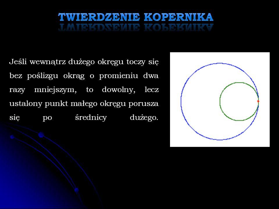 Jeśli wewnątrz dużego okręgu toczy się bez poślizgu okrąg o promieniu dwa razy mniejszym, to dowolny, lecz ustalony punkt małego okręgu porusza się po średnicy dużego.