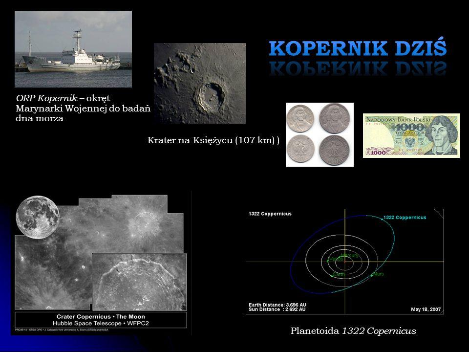 Krater na Księżycu (107 km) ) Planetoida 1322 Copernicus ORP Kopernik – okręt Marynarki Wojennej do badań dna morza