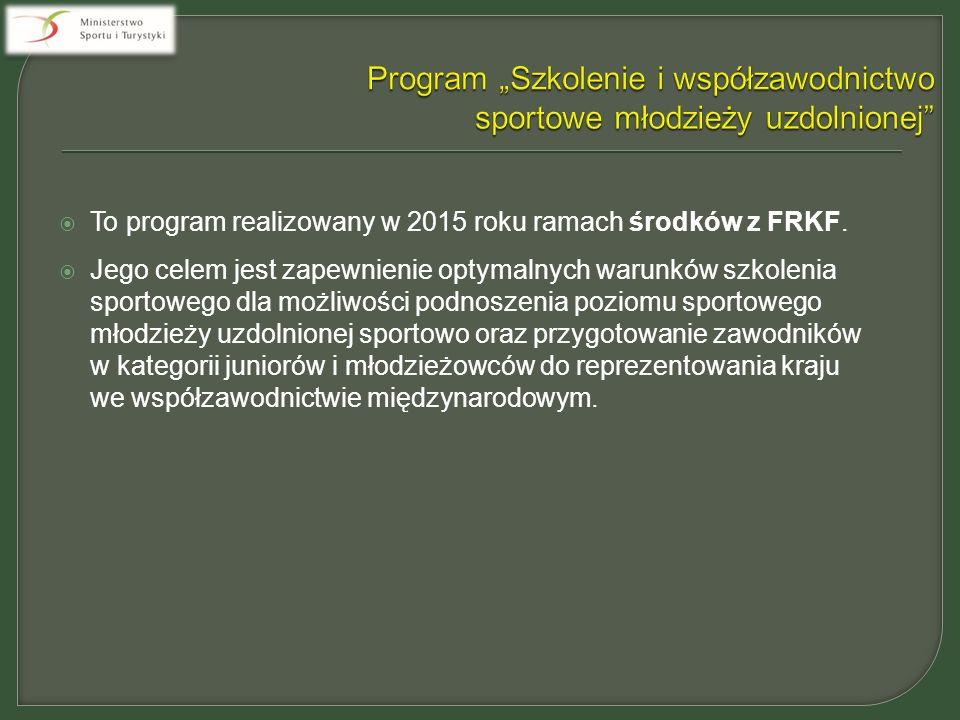  To program realizowany w 2015 roku ramach środków z FRKF.