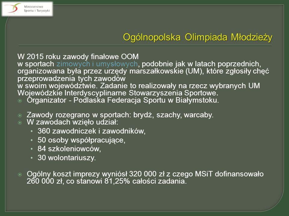 W 2015 roku zawody finałowe OOM w sportach zimowych i umysłowych, podobnie jak w latach poprzednich, organizowana była przez urzędy marszałkowskie (UM), które zgłosiły chęć przeprowadzenia tych zawodów w swoim województwie.