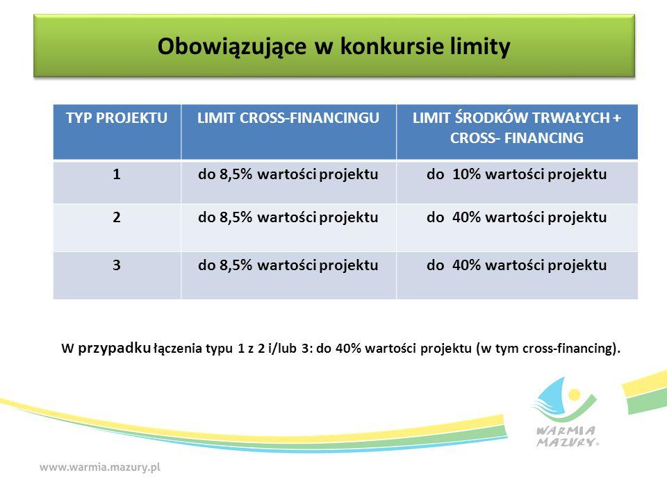 W przypadku łączenia typu 1 z 2 i/lub 3: do 40% wartości projektu (w tym cross-financing).
