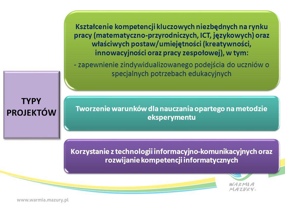 TYPY PROJEKTÓW TYPY PROJEKTÓW Kształcenie kompetencji kluczowych niezbędnych na rynku pracy (matematyczno-przyrodniczych, ICT, językowych) oraz właściwych postaw/umiejętności (kreatywności, innowacyjności oraz pracy zespołowej), w tym: - zapewnienie zindywidualizowanego podejścia do uczniów o specjalnych potrzebach edukacyjnych Tworzenie warunków dla nauczania opartego na metodzie eksperymentu Korzystanie z technologii informacyjno-komunikacyjnych oraz rozwijanie kompetencji informatycznych