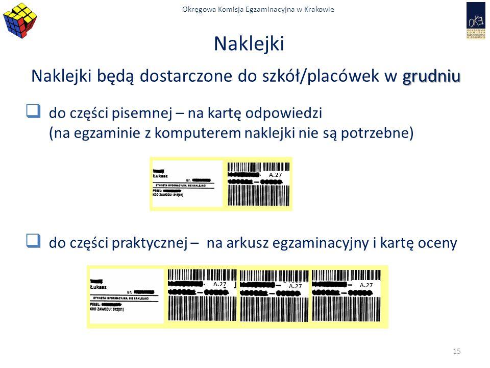 Okręgowa Komisja Egzaminacyjna w Krakowie Naklejki grudniu Naklejki będą dostarczone do szkół/placówek w grudniu  do części pisemnej – na kartę odpowiedzi (na egzaminie z komputerem naklejki nie są potrzebne)  do części praktycznej – na arkusz egzaminacyjny i kartę oceny A.27 15