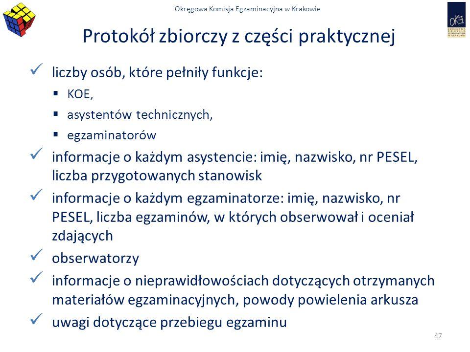 Okręgowa Komisja Egzaminacyjna w Krakowie Protokół zbiorczy z części praktycznej liczby osób, które pełniły funkcje:  KOE,  asystentów technicznych,  egzaminatorów informacje o każdym asystencie: imię, nazwisko, nr PESEL, liczba przygotowanych stanowisk informacje o każdym egzaminatorze: imię, nazwisko, nr PESEL, liczba egzaminów, w których obserwował i oceniał zdających obserwatorzy informacje o nieprawidłowościach dotyczących otrzymanych materiałów egzaminacyjnych, powody powielenia arkusza uwagi dotyczące przebiegu egzaminu 47