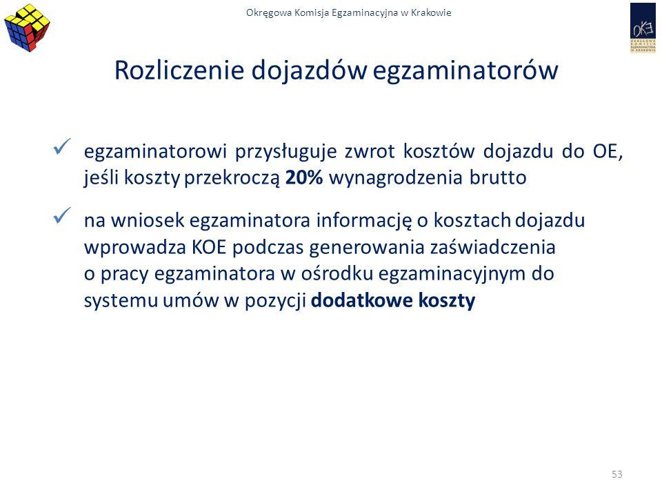 Okręgowa Komisja Egzaminacyjna w Krakowie Rozliczenie dojazdów egzaminatorów egzaminatorowi przysługuje zwrot kosztów dojazdu do OE, jeśli koszty przekroczą 20% wynagrodzenia brutto na wniosek egzaminatora informację o kosztach dojazdu wprowadza KOE podczas generowania zaświadczenia o pracy egzaminatora w ośrodku egzaminacyjnym do systemu umów w pozycji dodatkowe koszty 53