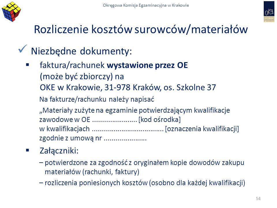 Okręgowa Komisja Egzaminacyjna w Krakowie Rozliczenie kosztów surowców/materiałów Niezbędne dokumenty:  faktura/rachunek wystawione przez OE (może być zbiorczy) na OKE w Krakowie, 31-978 Kraków, os.
