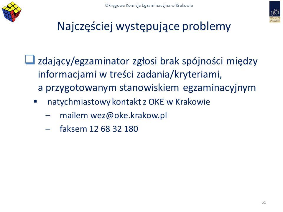 Okręgowa Komisja Egzaminacyjna w Krakowie Najczęściej występujące problemy  zdający/egzaminator zgłosi brak spójności między informacjami w treści zadania/kryteriami, a przygotowanym stanowiskiem egzaminacyjnym  natychmiastowy kontakt z OKE w Krakowie –mailem wez@oke.krakow.pl –faksem 12 68 32 180 61