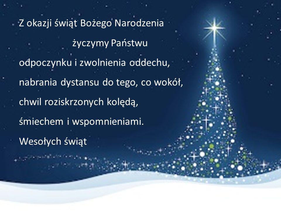 Okręgowa Komisja Egzaminacyjna w Krakowie Z okazji świąt Bożego Narodzenia życzymy Państwu odpoczynku i zwolnienia oddechu, nabrania dystansu do tego, co wokół, chwil roziskrzonych kolędą, śmiechem i wspomnieniami.