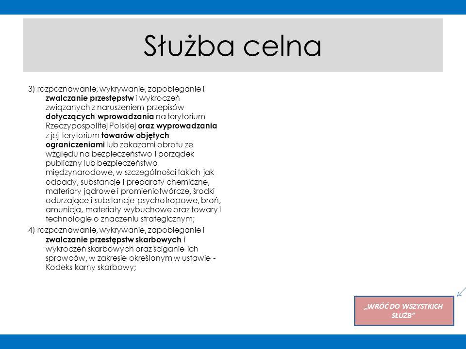 """Służba celna 3) rozpoznawanie, wykrywanie, zapobieganie i zwalczanie przestępstw i wykroczeń związanych z naruszeniem przepisów dotyczących wprowadzania na terytorium Rzeczypospolitej Polskiej oraz wyprowadzania z jej terytorium towarów objętych ograniczeniami lub zakazami obrotu ze względu na bezpieczeństwo i porządek publiczny lub bezpieczeństwo międzynarodowe, w szczególności takich jak odpady, substancje i preparaty chemiczne, materiały jądrowe i promieniotwórcze, środki odurzające i substancje psychotropowe, broń, amunicja, materiały wybuchowe oraz towary i technologie o znaczeniu strategicznym; 4) rozpoznawanie, wykrywanie, zapobieganie i zwalczanie przestępstw skarbowych i wykroczeń skarbowych oraz ściganie ich sprawców, w zakresie określonym w ustawie - Kodeks karny skarbowy; """"WRÓĆ DO WSZYSTKICH SŁUŻB Po kliknięciu na przycisk użytkownik powróci do slajdu ze zdjęciami wszystkich służb"""