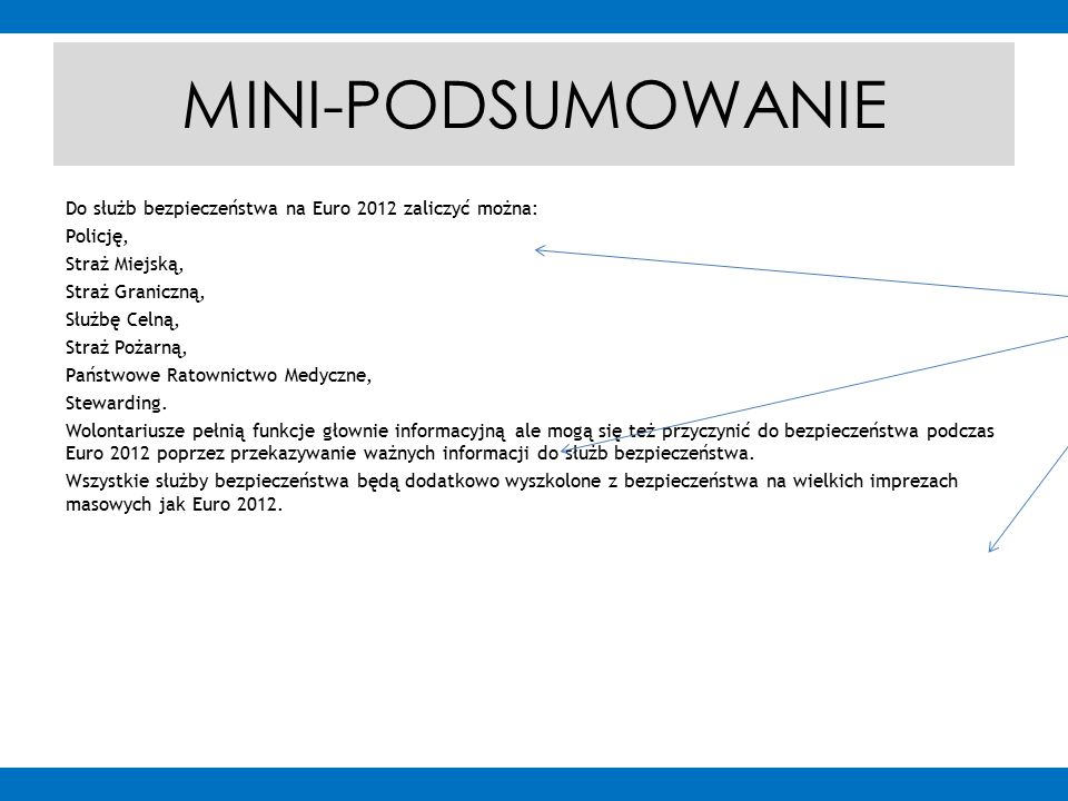 MINI-PODSUMOWANIE Do służb bezpieczeństwa na Euro 2012 zaliczyć można: Policję, Straż Miejską, Straż Graniczną, Służbę Celną, Straż Pożarną, Państwowe Ratownictwo Medyczne, Stewarding.