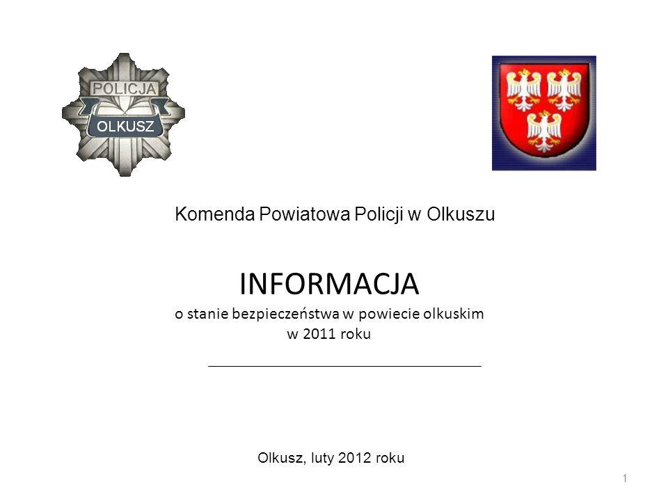 INFORMACJA o stanie bezpieczeństwa w powiecie olkuskim w 2011 roku 1 Olkusz, luty 2012 roku Komenda Powiatowa Policji w Olkuszu