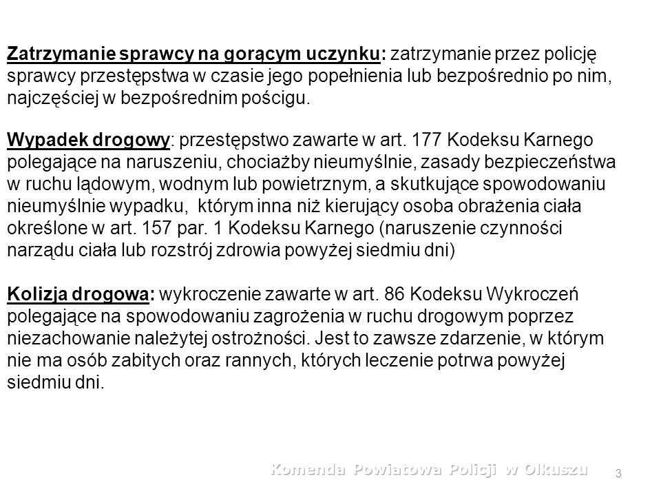 3 Zatrzymanie sprawcy na gorącym uczynku: zatrzymanie przez policję sprawcy przestępstwa w czasie jego popełnienia lub bezpośrednio po nim, najczęściej w bezpośrednim pościgu.