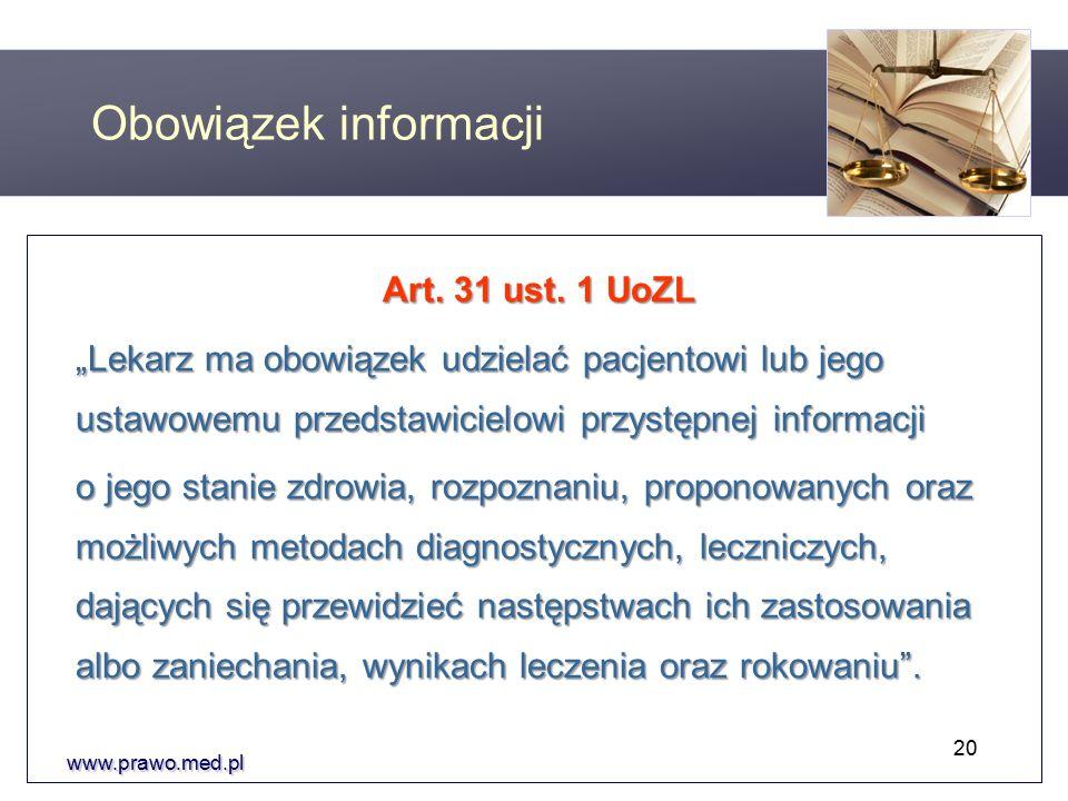 Obowiązek informacji Art. 31 ust.