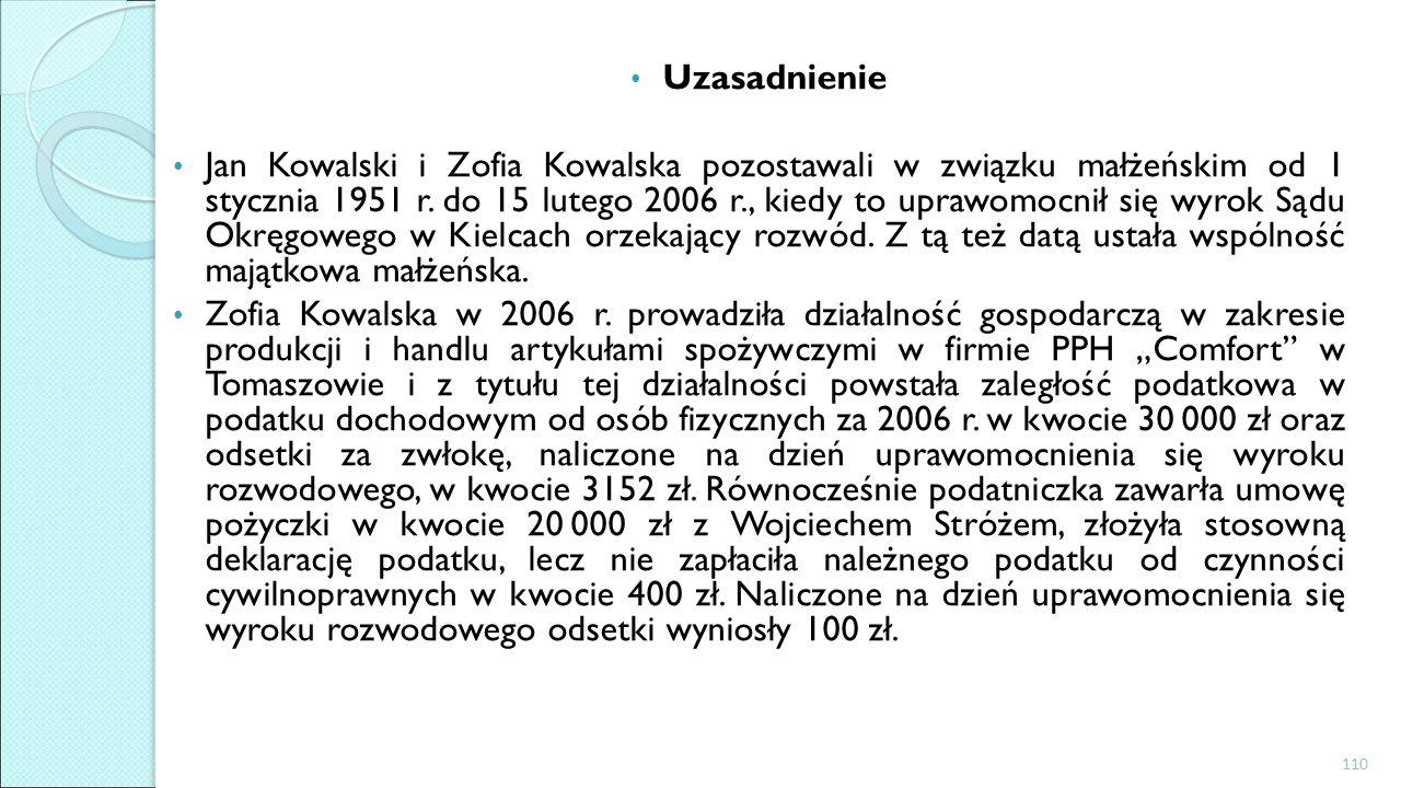 Uzasadnienie Jan Kowalski i Zofia Kowalska pozostawali w związku małżeńskim od 1 stycznia 1951 r.