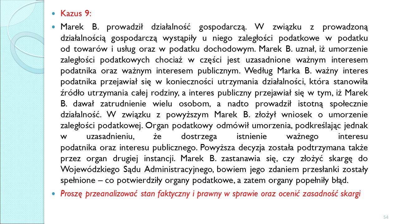 Kazus 9: Marek B. prowadził działalność gospodarczą.