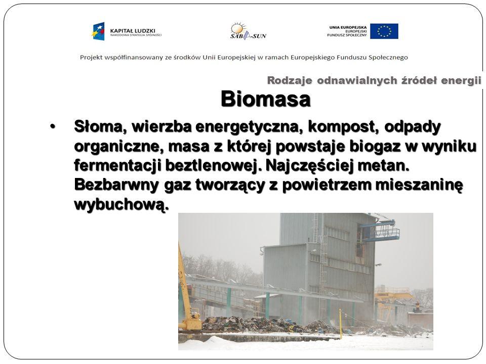 Biomasa Rodzaje odnawialnych źródeł energii Słoma, wierzba energetyczna, kompost, odpady organiczne, masa z której powstaje biogaz w wyniku fermentacji beztlenowej.