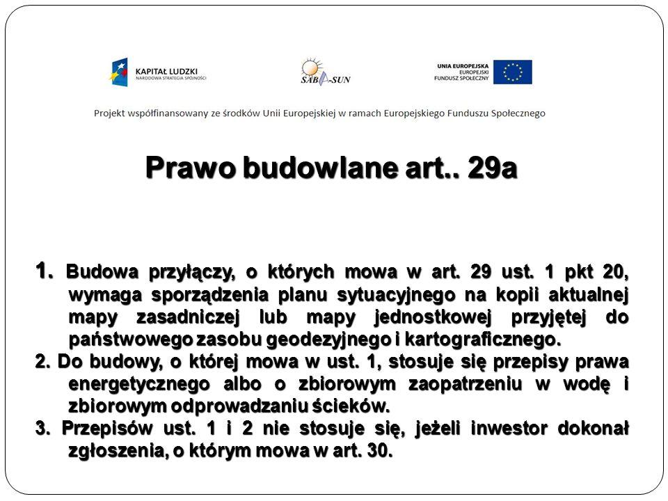 Prawo budowlane art.. 29a 1. Budowa przyłączy, o których mowa w art.