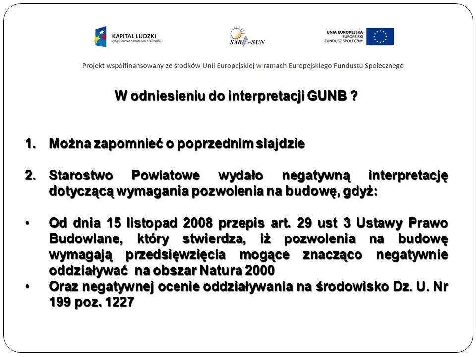 W odniesieniu do interpretacji GUNB .