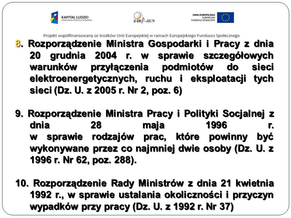 8. Rozporządzenie Ministra Gospodarki i Pracy z dnia 20 grudnia 2004 r.
