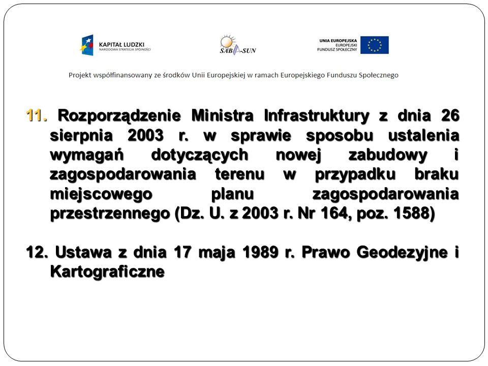 11. Rozporządzenie Ministra Infrastruktury z dnia 26 sierpnia 2003 r.