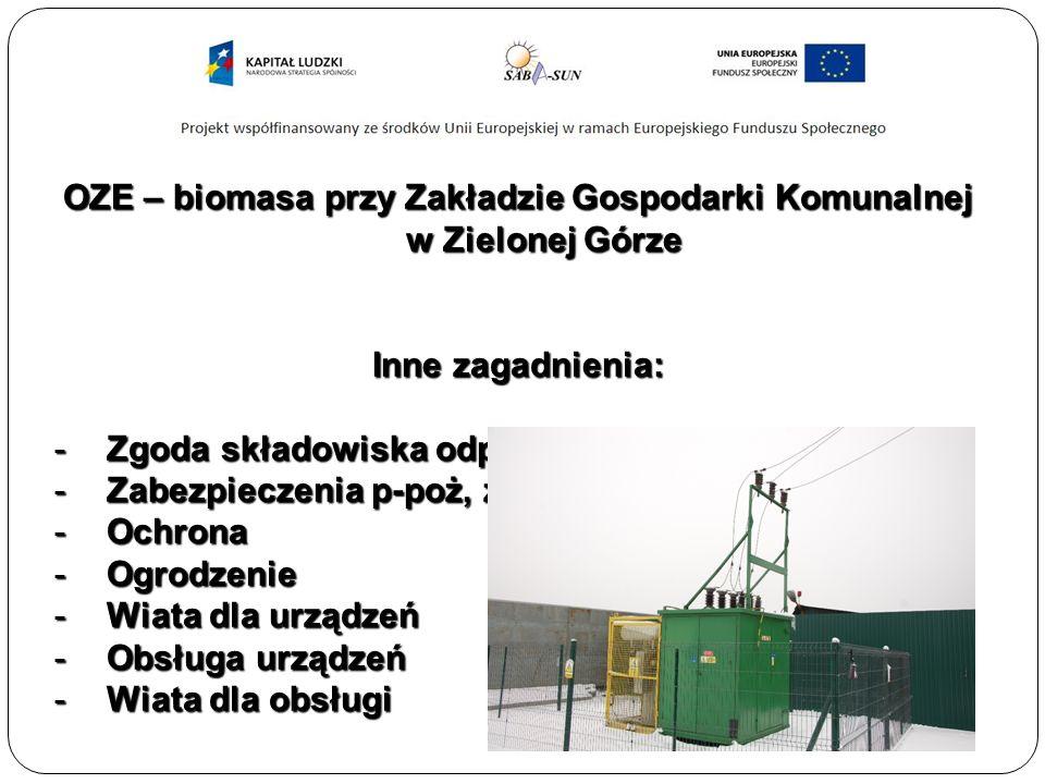 OZE – biomasa przy Zakładzie Gospodarki Komunalnej w Zielonej Górze Inne zagadnienia: -Zgoda składowiska odpadów komunalnych -Zabezpieczenia p-poż, zabezpieczenia gazu -Ochrona -Ogrodzenie -Wiata dla urządzeń -Obsługa urządzeń -Wiata dla obsługi