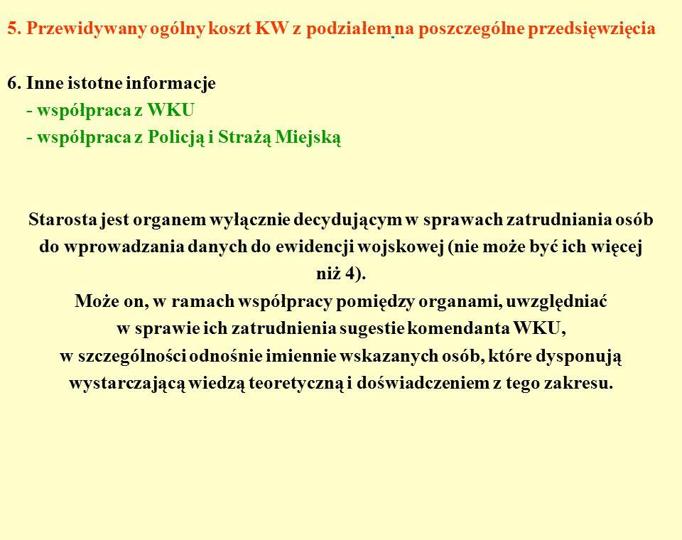 5. Przewidywany ogólny koszt KW z podziałem na poszczególne przedsięwzięcia 6.