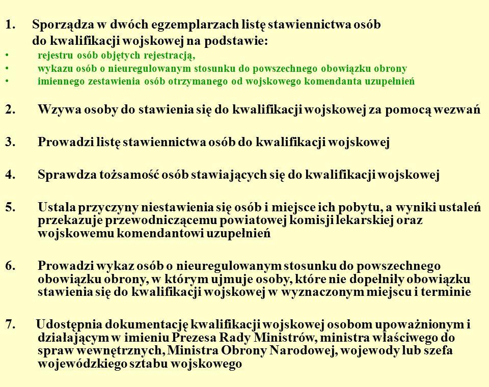1. Sporządza w dwóch egzemplarzach listę stawiennictwa osób do kwalifikacji wojskowej na podstawie: rejestru osób objętych rejestracją, wykazu osób o
