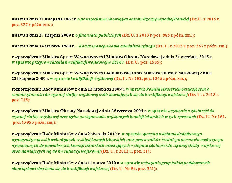 ustawa z dnia 21 listopada 1967 r. o powszechnym obowiązku obrony Rzeczypospolitej Polskiej (Dz.U. z 2015 r. poz. 827 z późn. zm.); ustawa z dnia 27 s