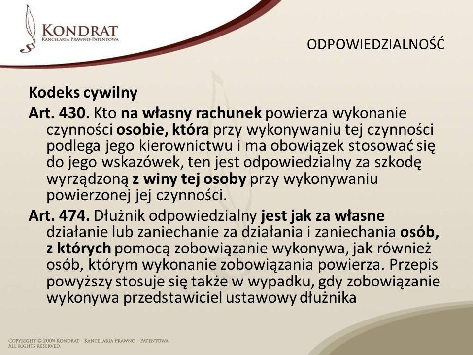 ODPOWIEDZIALNOŚĆ Kodeks cywilny Art. 430.