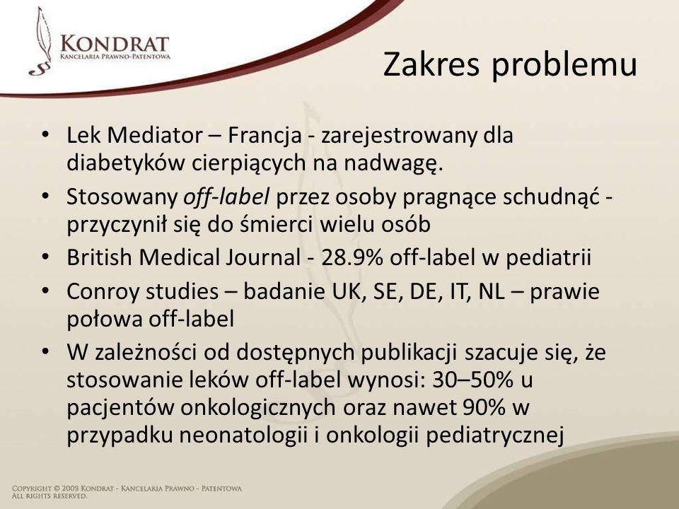 Zakres problemu Lek Mediator – Francja - zarejestrowany dla diabetyków cierpiących na nadwagę.