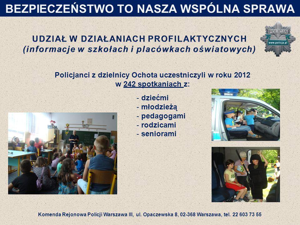 Policjanci z dzielnicy Ochota uczestniczyli w roku 2012 w 242 spotkaniach z: - dziećmi - młodzieżą - pedagogami - rodzicami - seniorami BEZPIECZEŃSTWO TO NASZA WSPÓLNA SPRAWA Komenda Rejonowa Policji Warszawa III, ul.